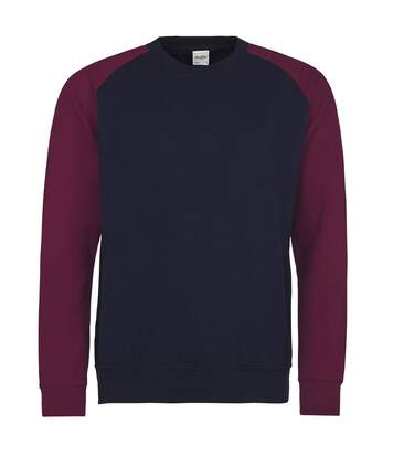 Awdis Mens Two Tone Cotton Rich Baseball Sweatshirt (Oxford Navy/Burgundy) - UTRW3929