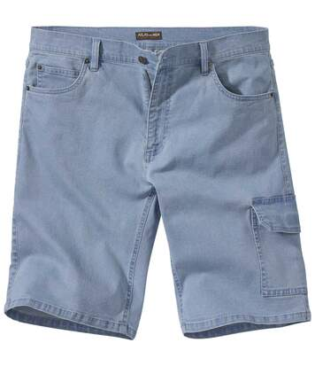 Men's Light Blue Stretch Denim Shorts