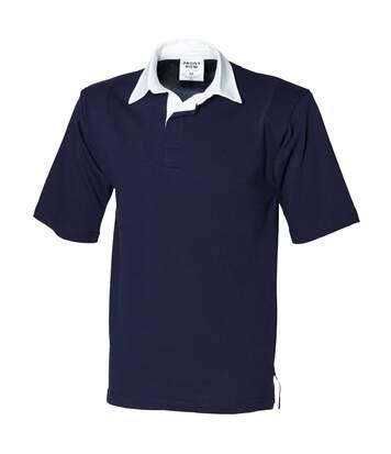 Front Row - Polo De Rugby À Manches Courtes 100% Coton - Homme (Bleu marine) - UTRW475