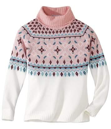 Jacquard mintás, garbó nyakú kötött pulóver