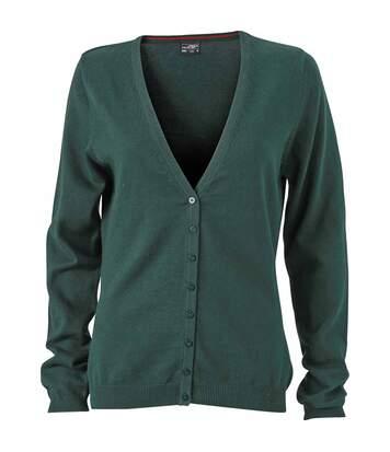 Gilet boutonné cardigan - FEMME - JN660 - vert foncé