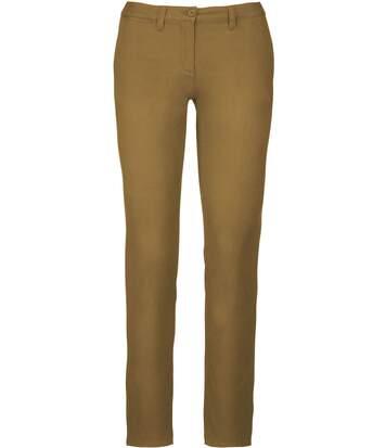 pantalon chino pour femme - K741 - beige camel