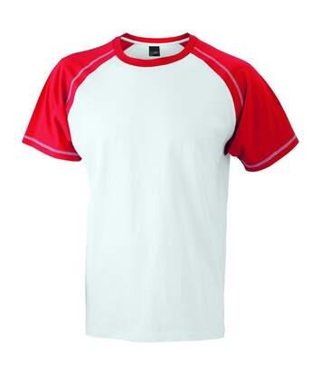 T-shirt bicolore pour homme JN010 - blanc et rouge
