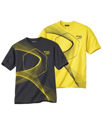 Pack of 2 Men's Design T-Shirts - Yellow Grey