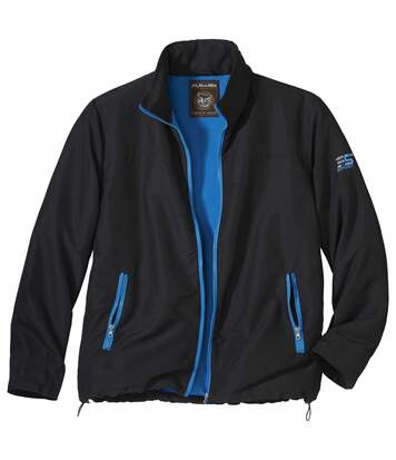 Men's Black Fleece-Lined Windbreaker Jacket