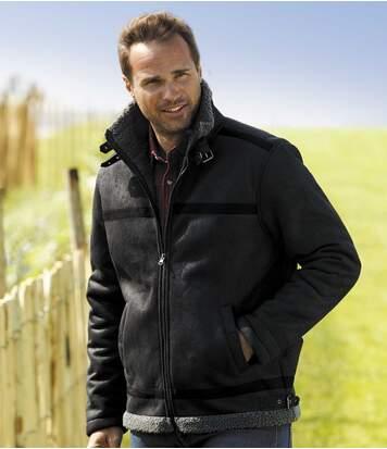 Kurtka pilotka ze sztucznego zamszu podszyta kożuszkiem sherpa