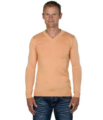 Pull Col V en Maille Fine Mélange Coton Orange