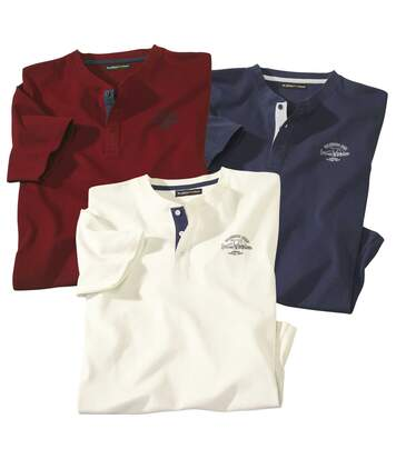 Pack of 3 Men's Casual T-Shirts - Red Navy Ecru