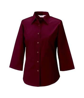 Russell Collection Ladies/Womens 3/4 Sleeve Easy Care Fitted Shirt (Port) - UTBC1030