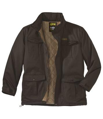 Men's Brown Multi-Pocket Parka