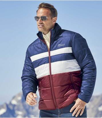 Men's Water-Repellent Puffer Jacket - Full Zip - Burgundy Navy Off-White