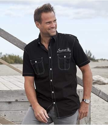 Men's Black Sailing Print Shirt