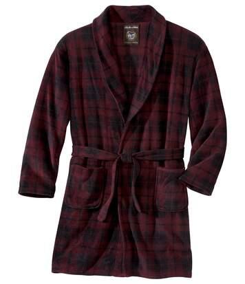 Men's Checked Fleece Dressing Gown - Black Burgundy