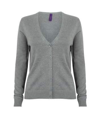 Henbury Womens/Ladies V-Neck Button Up Cardigan (Black) - UTRW4756