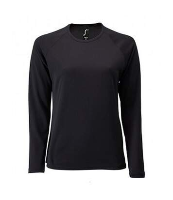 SOLS Womens/Ladies Sporty Long Sleeve Performance T-Shirt (Black) - UTPC3131