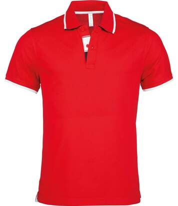 Polo homme inserts contrastés - manches courtes - K245 - rouge
