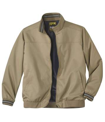 Men's Beige Twill Jacket - Full Zip - Water-Repellent