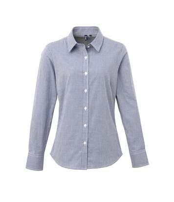 Premier Womens/Ladies Microcheck Long Sleeve Shirt (Navy/White) - UTRW5523
