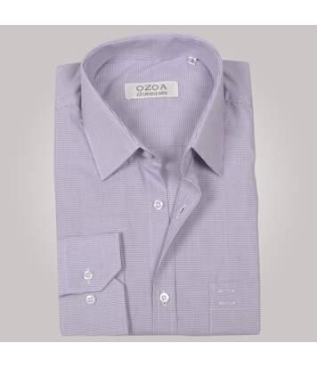 Chemise homme à micro carreaux violets avec poche poitrine - Chemise NON CINTRÉE
