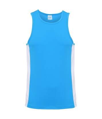 AWDis Just Cool Mens Contrast Panel Sports Vest Top (Sapphire Blue/Arctic White) - UTRW3476