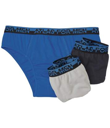 Pack of 3 Men's Comfort Briefs - Blue Black Grey