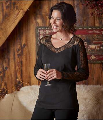 Women's Black Lace Cotton Top