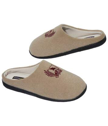 Men's Beige Fleece-Lined Slippers