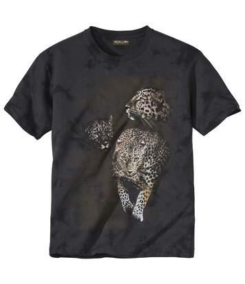 Men's Dark Brown Panther Tie-Dye T-Shirt
