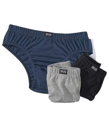 Pack of 3 Men's Comfort Briefs - Black Navy Grey