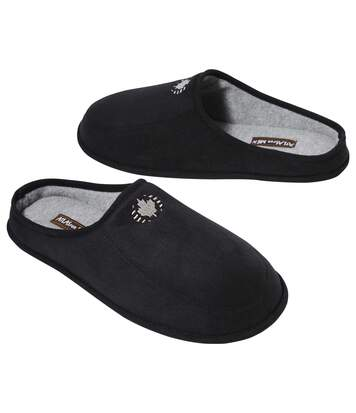 Men's Black Faux Suede Slippers