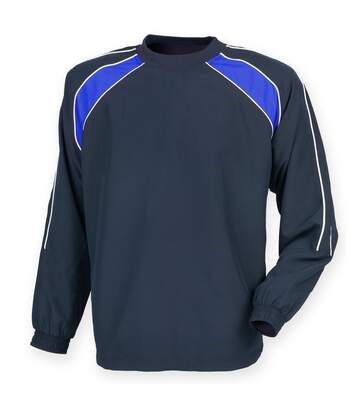 Finden & Hales Mens Long Sleeve Sports Warm-up Drill Top (Navy/ Royal/ White) - UTRW4159