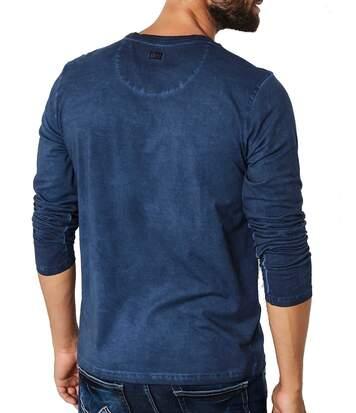 T shirt manche longue tlr603 effet délavé et usé avec imprimé vintage