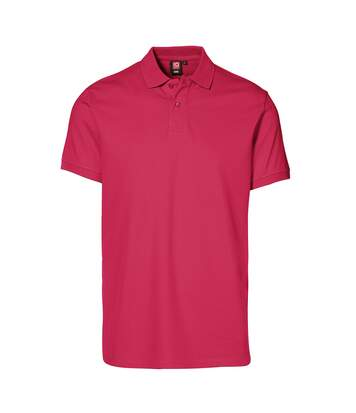 ID Mens Short Sleeve Pique Stretch Polo Shirt (Cerise) - UTID387