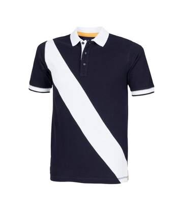 Front Row - Polo De Rugby À Manches Courtes 100% Coton - Homme (Bleu marine/Blanc) - UTRW2683