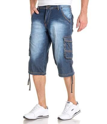 Short Bermuda long bleu délavé toile en jean léger pour homme