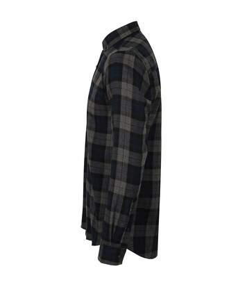 Skinni Fit Mens Brushed Check Casual Long Sleeve Shirt (Navy Check) - UTRW5497