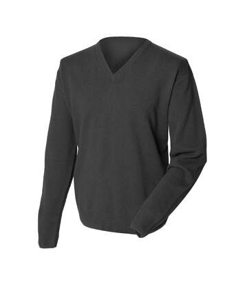 Henbury Mens Lambswool Woolmark® V-Neck Jumper / Sweatshirt (Charcoal) - UTRW665