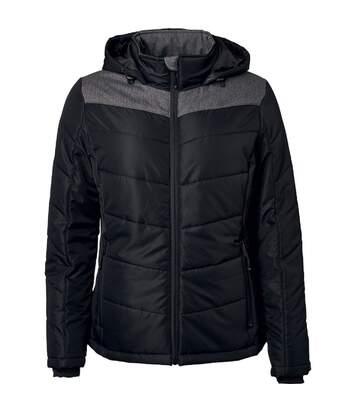Veste matelassée à capuche - doudoune - JN1133 - noir - femme