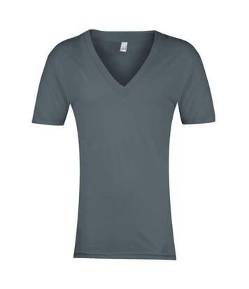 American Apparel - T-Shirt À Manches Courtes Et Col En V - Homme (Asphalte) - UTRW4050