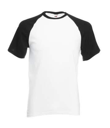 Fruit Of The Loom Mens Short Sleeve Baseball T-Shirt (White/Black) - UTBC327