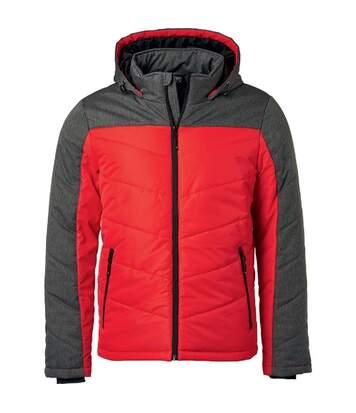 Veste matelassée à capuche - doudoune - JN1134 - rouge - homme
