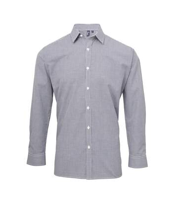 Premier Mens Microcheck Long Sleeve Shirt (Navy/White) - UTRW5526