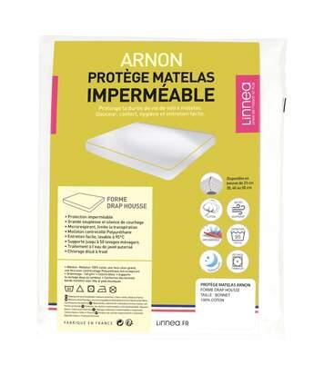 Protège matelas imperméable 100x190 cm bonnet 40cm ARNON molleton 100% coton contrecollé polyuréthane