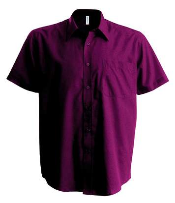 Chemise popeline manches courtes - K551- rouge vin - homme