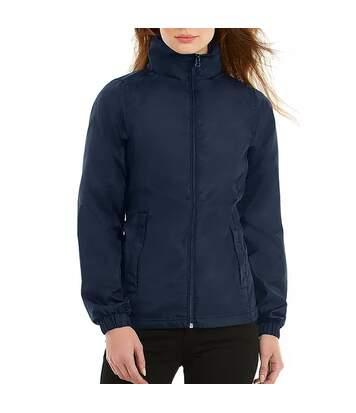 B&C Womens/Ladies ID.601 Hooded Showerproof Windbreaker Jacket (Dark Grey) - UTRW3523