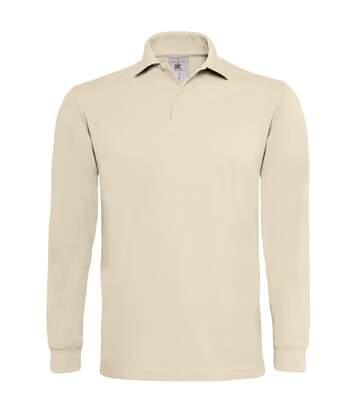 B&C Mens Heavymill Cotton Long Sleeve Polo Shirt (Sand) - UTRW3007