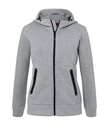 Veste zippée à capuche - Femme - JN1143 - gris clair chiné