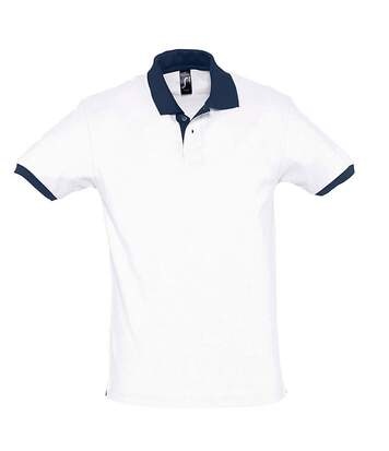 Polo homme bicolore - 11369 - blanc