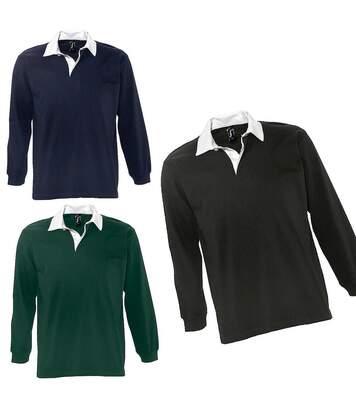 Lot 3 polos rugby manches longues HOMME - 11313 - bleu vert et noir