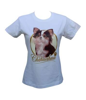 T-shirt femme manches courtes - chien Chihuahua 8122 - blanc